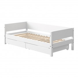 Evolutief laag bed met 2 lades - White