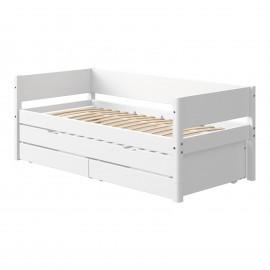 Evolutief laag bed met bedbank en 2 lades - White