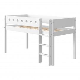 Halfhoog evolutief bed met rechte ladder - White