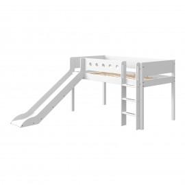 Halfhoog bed met rechte ladder en glijbaan - White