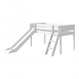 Halfhoog evolutief bed met schuine ladder en glijbaan - White