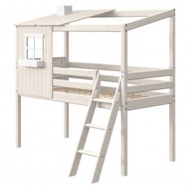 Halfhoog evolutief bed met HUIS en schuine ladder - Classic