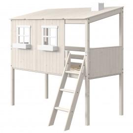 Halfhoog evolutief bed met compleet HUIS en schuine ladder - Classic