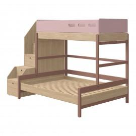 Lits superposés avec lit 140 cm et escalier-rangements - Popsicle