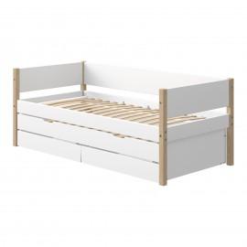 Evolutief laag bed met bedbank en 2 lades - NOR
