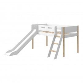 Halfhoog evolutief bed met schuine ladder en glijbaan - NOR