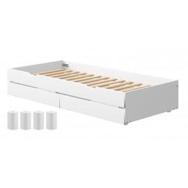 Bloc lit gigogne et tiroirs de rangement White